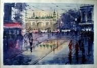 Street of Kolkata by Krishnendu Halder, Impressionism Painting, Watercolor on Paper, Blue color