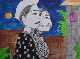Love Painting 2 by santosh patil, Decorative Painting, Pen, pencil, watercolour on paper, Gray color
