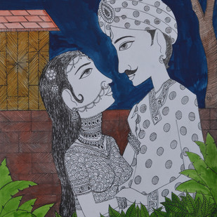 Love Painting 3 by santosh patil, Decorative Painting, Pen, pencil, watercolour on paper, Brown color