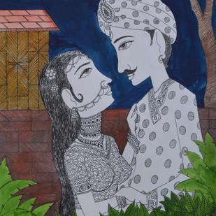 Love Painting 3 by santosh patil, Decorative Painting, Pen, pencil, watercolour on paper, Brown color