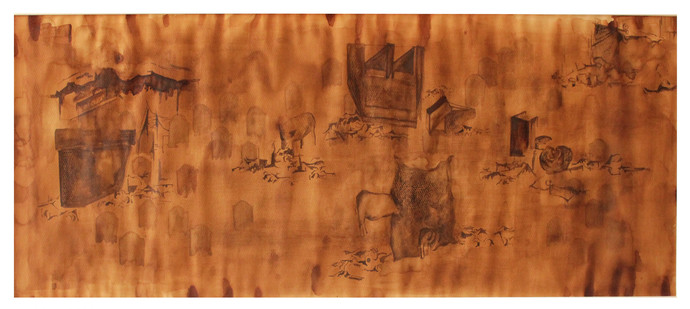 Untitled by Tushima Bhatter, Expressionism Painting, Watercolor on Paper, Brown color
