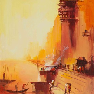 Benaras at sunset by Dilip Chaudhury, Impressionism Painting, Acrylic on Canvas, Beige color