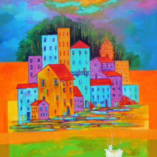 Venice City 06 by Ganesh Badiger, Geometrical Painting, Acrylic on Canvas, Green color