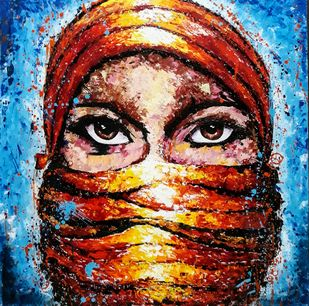 Eyes speaks by Samta, Expressionism Painting, Acrylic on Canvas, Brown color