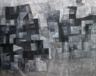 Untitled by Pradip Mazumdar, Geometrical Painting, Acrylic on Canvas, Gray color