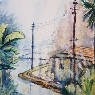 70s Bengal Village by Kannan Ananthasubramani, Impressionism Painting, Watercolor on Paper, Gray color