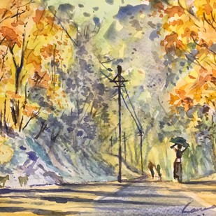 Indian Village at Springtime by Kannan Ananthasubramani, Impressionism Painting, Watercolor on Paper, Beige color