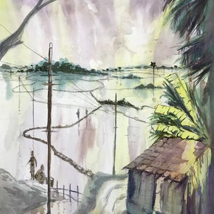 Wet Farmlands by Kannan Ananthasubramani, Impressionism Painting, Watercolor on Paper, Gray color