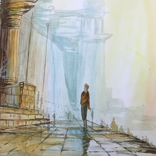 Misty Morning in Benaras by Kannan Ananthasubramani, Impressionism Painting, Watercolor on Paper, Beige color