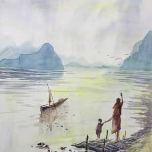Happy Journey by Kannan Ananthasubramani, Impressionism Painting, Watercolor on Paper, Gray color