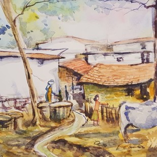 Cow shed by Kannan Ananthasubramani, Impressionism Painting, Watercolor on Paper, Beige color