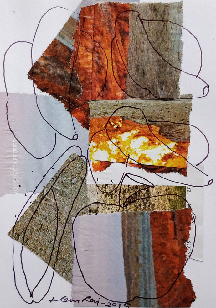 diary 1 by Hem Raj, Abstract Painting, Mixed Media on Paper, Brown color