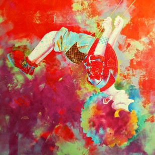 Passion of the childhood xvi by shiv kumar soni, Expressionism Painting, Acrylic on Canvas, Brown color