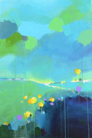 Valley of Flowers by Mitisha, Abstract Painting, Acrylic on Canvas, Cyan color