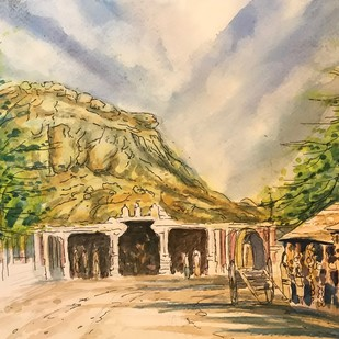 Temple with Mountain Backdrop by Kannan Ananthasubramani, Impressionism Painting, Watercolor & Ink on Paper, Beige color