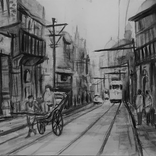 70s Calcutta Street Life by Kannan Ananthasubramani, Impressionism Painting, Watercolor on Paper, Gray color