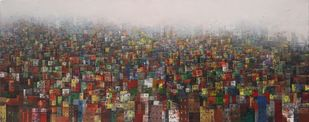 Old Town by M Singh, Abstract Painting, Acrylic on Canvas, Brown color