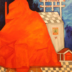 The Mystical Sharika -Goddess of Kashmir-The Demon Destroyer by Neeraj Raina, Expressionism Painting, Acrylic on Canvas, Orange color