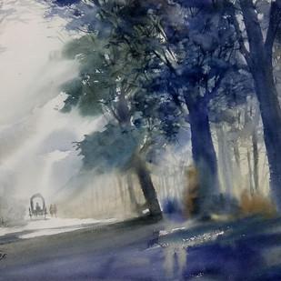 morning mist by Sunil Linus De, Impressionism Painting, Watercolor on Paper, Gray color