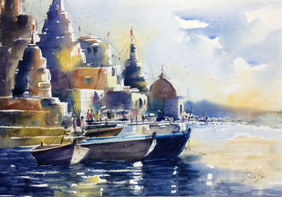 varanasi by Sunil Linus De, Impressionism Painting, Watercolor on Paper, Gray color