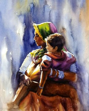 mother and child by Sunil Linus De, Impressionism Painting, Watercolor on Paper, Brown color