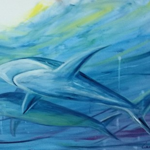 Paradise of the Sharks by Kannan Ananthasubramani, Expressionism Painting, Acrylic on Canvas, Blue color