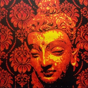 Buddha 2 by Sujit Karmakar, Expressionism Painting, Acrylic on Canvas, Brown color