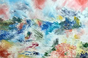 Sky and Water by Tvesha Singh, Abstract Painting, Acrylic on Board, Cyan color