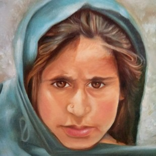 Gypsy Girl by Qazi Ashiq Hussain, Expressionism Painting, Oil on Canvas, Brown color