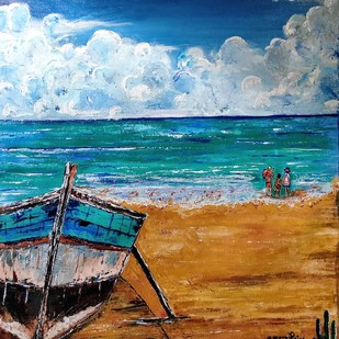 Resting Boat and the Beach Holidays by Neeraj Raina, Impressionism Painting, Acrylic on Canvas, Brown color