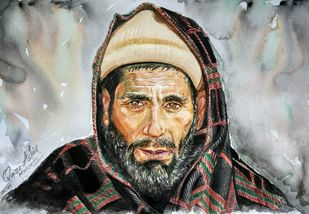 Pragmatic Purity by Qazi Ashiq Hussain, Expressionism Painting, Watercolor on Paper, Gray color