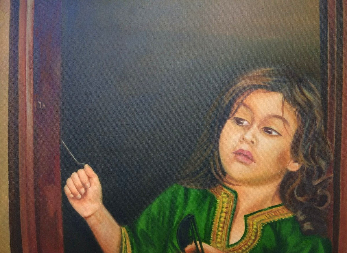 Waiting for Peace by Qazi Ashiq Hussain, Expressionism Painting, Oil on Canvas, Brown color