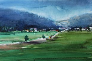 The Village by Javid Iqbal, Impressionism Painting, Watercolor and charcoal on paper, Green color