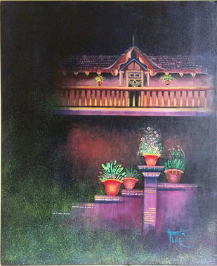 Night Scape by Amruta Patil, Impressionism Painting, Acrylic on Canvas, Gray color