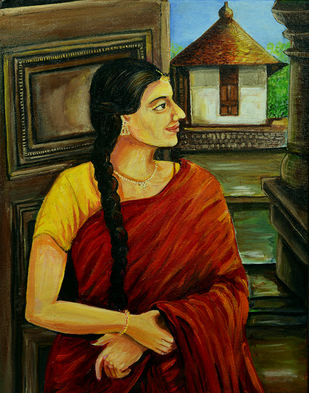 Heritage by Veena Sukumar, Expressionism Painting, Acrylic on Canvas, Brown color