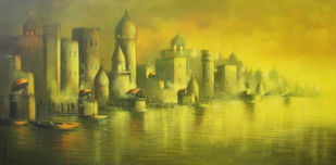 Golden Banaras by Somnath Bothe, Expressionism Painting, Acrylic on Canvas, Green color