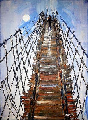 Life Is Like Walking Through A Stringy Bridge Digital Print by Neeraj Raina,Expressionism