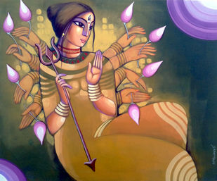DURGA by Sekhar Roy, Traditional Painting, Acrylic on Canvas, Brown color