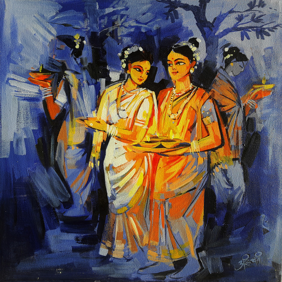 Diwali 2 by Arundhati Dhumale, Expressionism Painting, Acrylic on Canvas, Blue color