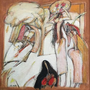 Untitled by Dhiraj Choudhury, Expressionism Painting, Oil on Canvas Board, Brown color
