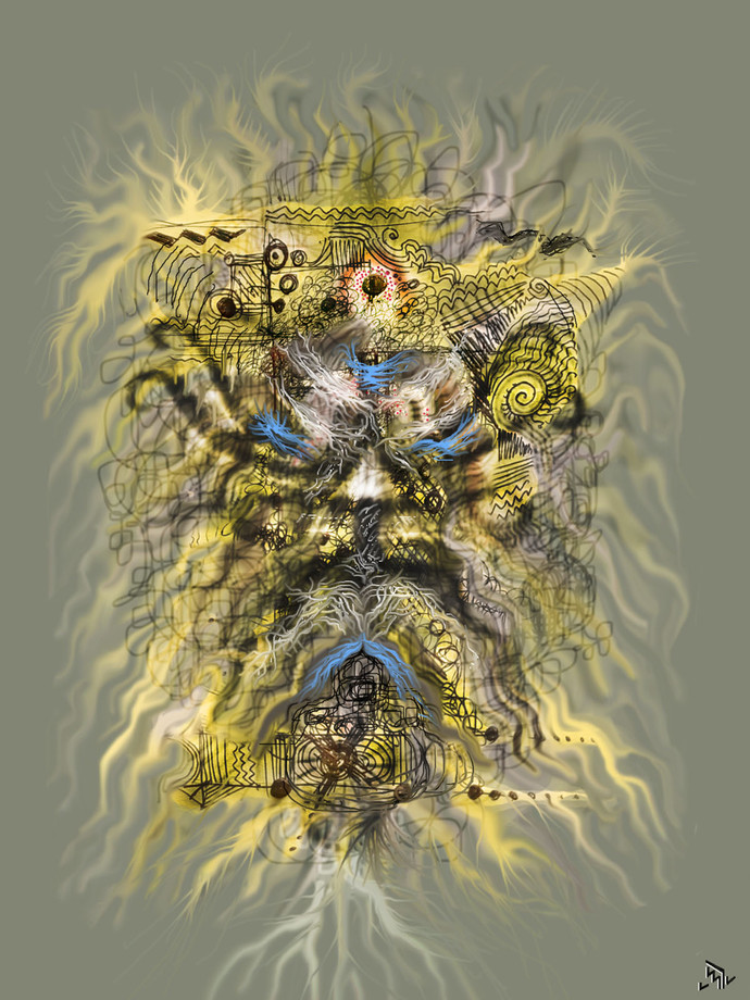 GOLDEN MEMORIES by Pradip Sarkar, Digital Digital Art, Digital Print on Canvas, Brown color