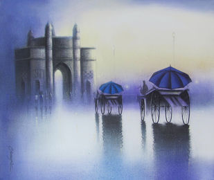 Gateway of India by Somnath Bothe, Impressionism Painting, Mixed Media on Canvas, Blue color