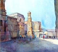 Ellora by Kiran sherkhane , Impressionism Painting, Watercolor on Paper, Cyan color