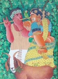 Couple with flute and parrot by Narahari Bhawandla, Expressionism Painting, Acrylic on Canvas, Green color