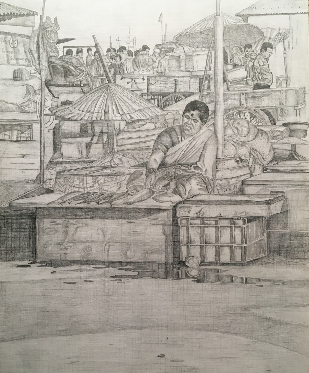 Fishing harbour by shiva prasad reddy illustration drawing pencil on paper brown color