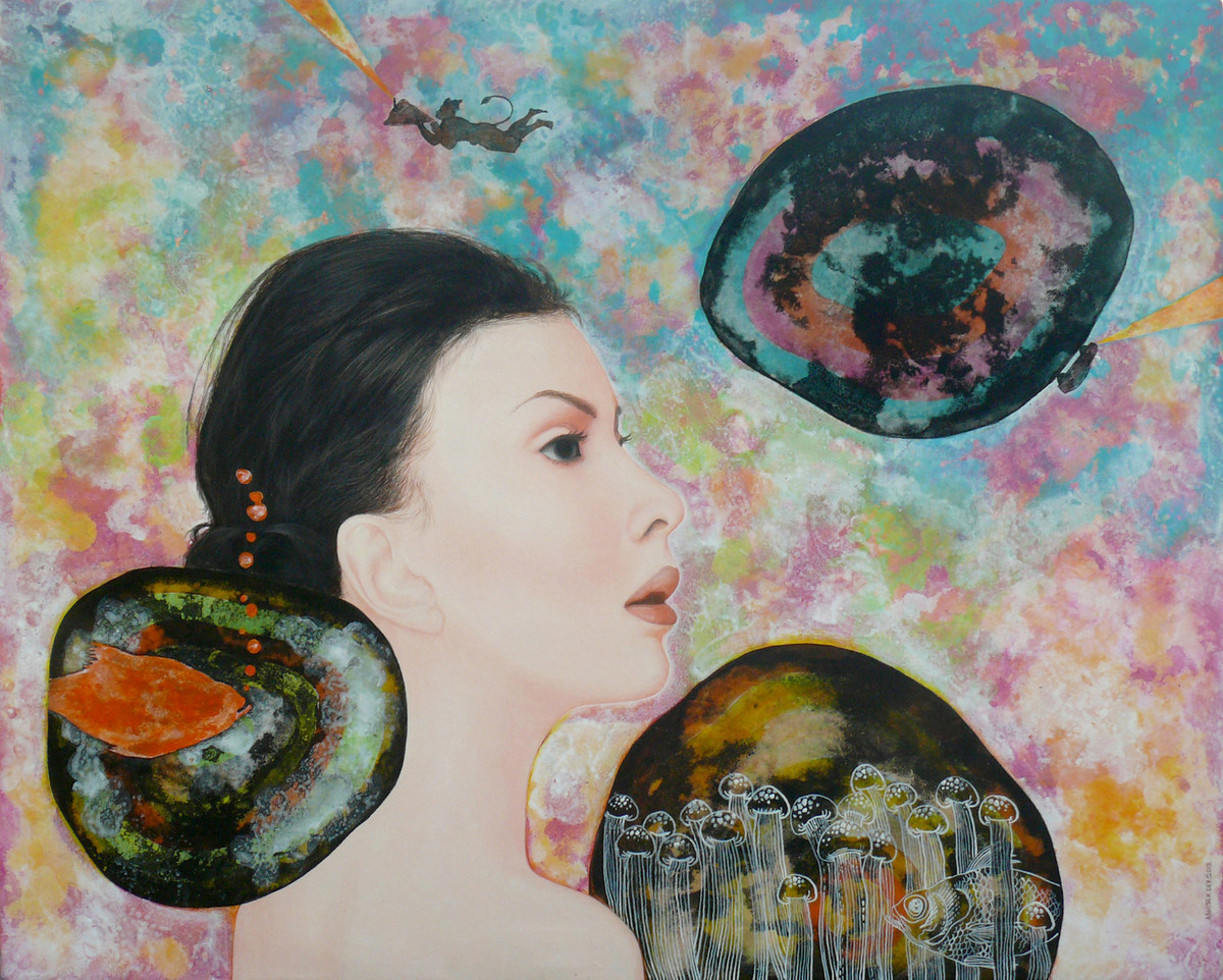 Orange bubbles and more by Abhisek Dey, Pop Art Painting, Acrylic on Canvas, Beige color