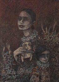 The Doll by Anujit Roy, Expressionism Drawing, Mixed Media, Brown color