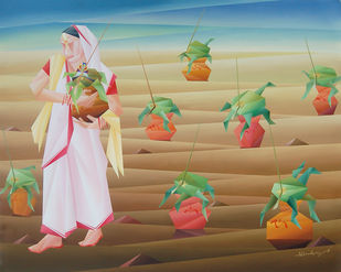 Mother's Blessing by Nirakar Chowdhury, Expressionism Painting, Acrylic on Canvas, Brown color