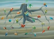 metamorphosis IV by Nirakar Chowdhury, Geometrical Painting, Acrylic on Canvas, Beige color