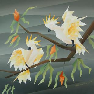similarity by Nirakar Chowdhury, Impressionism Painting, Acrylic on Canvas, Green color